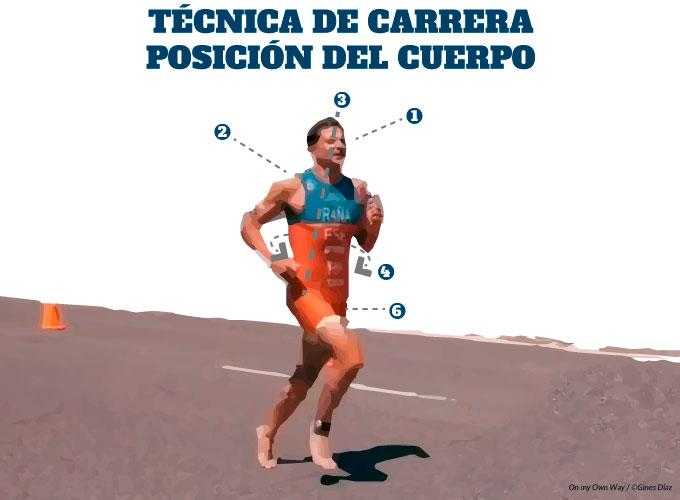 técnica de carrera en triatlón posición del cuerpo