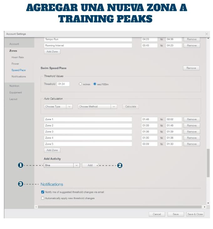 como configuro las zonas de entrenamiento en training peaks